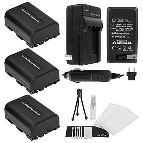 3-Pack NP-FM50 High-Capacity Replacement Batteries with Rapid Travel Charger for Select Sony Digital Cameras. UltraPro Bundle Includes: Camera Cleaning Kit, Screen Protector, Mini Travel Tripod