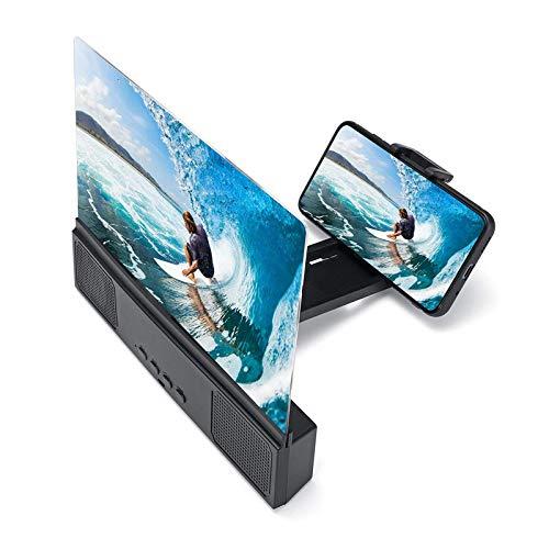 Amplificador de pantalla móvil de 12 pulgadas 3D pantalla del teléfono lupa de vídeo de película con altavoz Bluetooth para películas vídeos y juegos