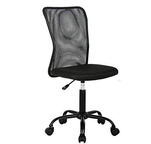 Simple Mesh Office Chair, Ergonomic Office Chair Armless Home Office Chair Adjustable Computer Chair Task Rolling Swivel Chair Black Desk Chair Drafting Chair for Working,Meeting,Reception Place