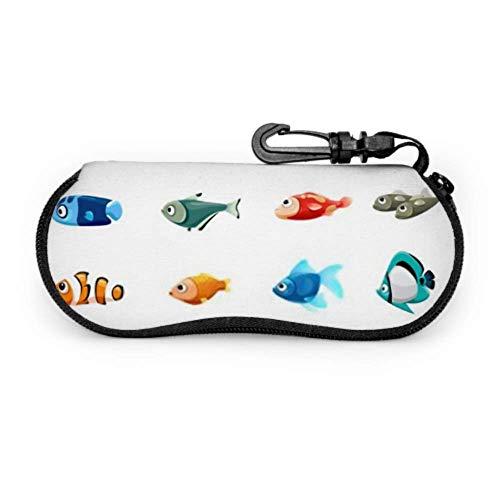 Vector Brillenetui, süßes Haustier-Shop, Fisch-Sonnenbrille, weiches Etui, ultraleichtes Neopren, Reißverschluss, Brillenetui mit Karabiner, Herren-Brillenetui