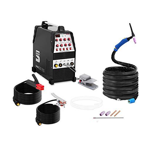 Stamos Welding ALU Schweißgerät WIG AC-DC/MMA E-Hand Inverter S-ALU 220 PRO (220 A / 60% DC, 8 Meter Kabel & Schlauchpaket, 2/4-Takt/Pulsfunktion, Fußpedal mit 8 m Kabel)