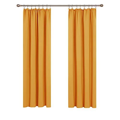 Deconovo Verdunkelung Fenstervorhang Grárdine Vorhänge Sonnenschutz mit Kräuselband 175x140 cm Orange 2er Set