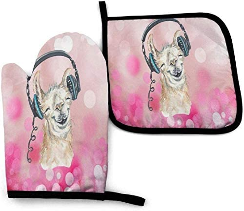 Llama Music World Oven Mitts and Pot Holders Potholders for Kitchens BBQ Silicone Cooking Gloves product image