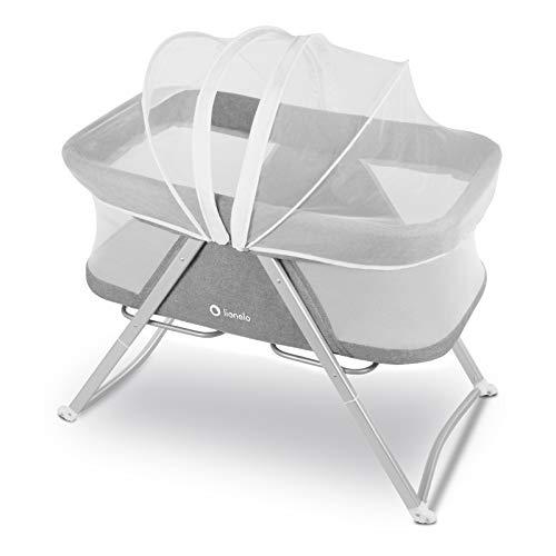 Lionelo Vera 3in1 Baby Bett Reisebett Baby Beistellbett Baby ab Geburt bis 9 kg luftige Seitenwände stabile Konstruktion Faltmatratze Moskitonetz Grau - 2