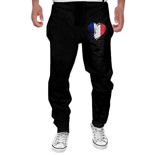 MrRui Herren Jogging Hose Jogger Streetwear Sporthose,Grungy I Love France Heart Flag