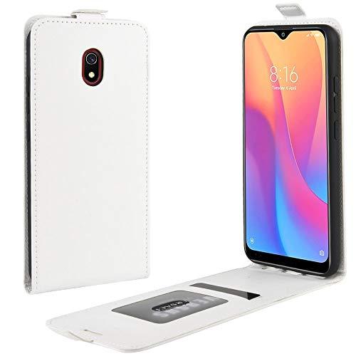 Liluyao Funda telefónica para Xiaomi For la Caja Protectora del Cuero del tirón Xiaomi redmi 8A Caballo Loco Vertical (Color : Blanco)
