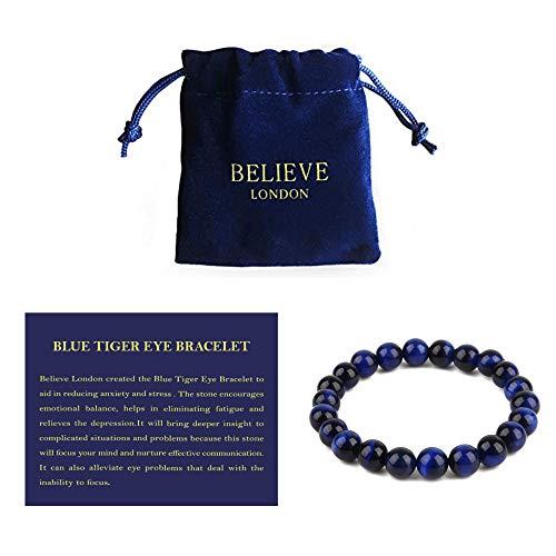 Believe London Blue Tiger Eye Gemstone Chakra Healing Bracelet Anxiety Crystal Natural Stone Men Women Stress Relief Reiki Yoga Diffuser Semi Precious