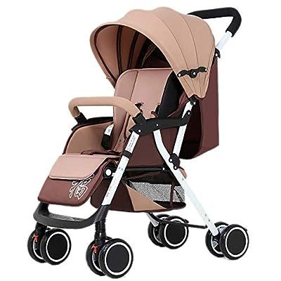 LIU UK Baby Stroller Cochecito de bebé, Carro de bebé Ligero Plegable de 4 Ruedas y 4 Estaciones de suspensión Universal Carro recién Nacido (Color : Caqui)