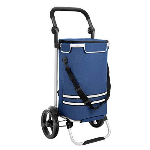 SONGMICS Einkaufstrolley, klappbar, Stabiler Einkaufswagen, mit Kühlfach, große Kapazität 35 L, multifunktional, Handwagen mit Rollen, abnehmbare Tasche, blau KST02BU