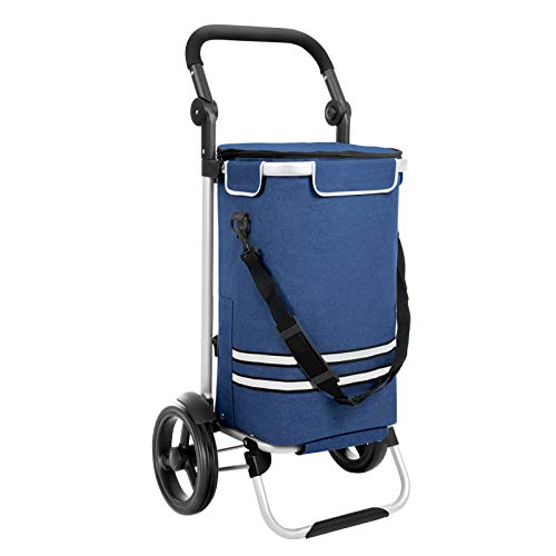 SONGMICS KST02 Stevige boodschappentrolley, inklapbaar met koelvak, multifunctionele boodschappentrolley met reflectoren, shopper, handwagen, afneembare tas, wieltjes blauw