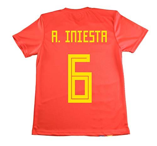 LICECIA DE LA REAL FEDERACION DE FUTBOL ESPAÑOLA Camiseta Iniesta Infantil España. Producto Oficial Licenciado Mundial Rusia 2018. (Rojo, Talla 6)