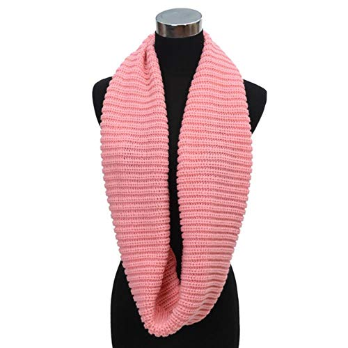 KKRIIS Unisex Winter Warm Infinity 2 Circle Cable Knit Cowl Neck Long Scarf Shawl Cloak, Pink