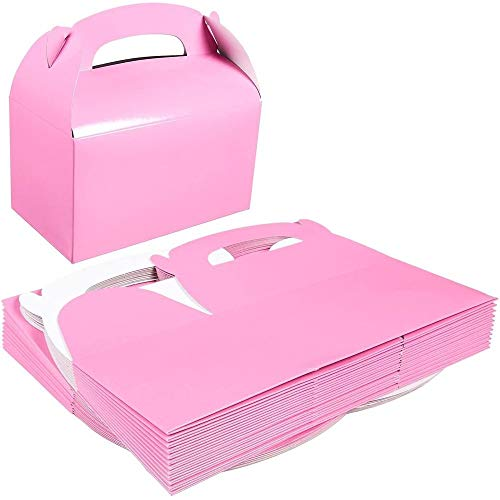 Pack of 24 Paper Treat Boxes - Gable Favor Boxes - Fun Party Play Goodie Boxes - 2 Dozen Pastel Pink Birthday Party Shower Loot Gift Boxes - 24 Count - 6.2 x 3.5 x 3.6 Inches