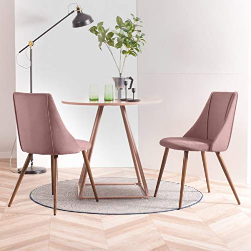 Geniqua Set of 2 Dining Chairs Kitchen Table Side Chairs Modern Velvet Seat Home Living Room Dining Side Chair Walnut Wood Legs, Pink