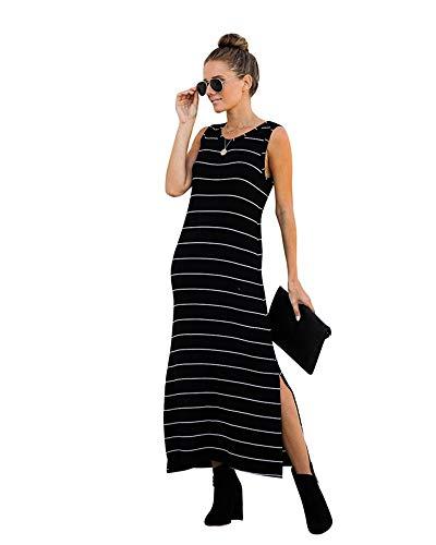 Xuan2Xuan3 Women's Casual Loose Long Maxi Tshirt Dress Sleeveless Split Beach Cover Up Dresses Black