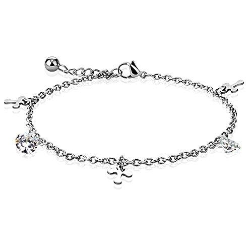 Bungsa® Bettelarmband Kreuz und Kristall Edelstahl für Damen Silber (Bettelkette Armband Damenarmband Herrenarmband Bracelet Chirurgenstahl Schmuck Edelstahlarmband)