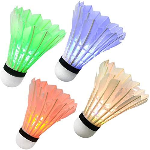 YXIN LED Badminton Nacht Badminton Federbälle leuchten im Dunkeln Birdies Beleuchtung Birdie für Outdoor Indoor Sport Aktivitäten 4er Pack, 4er-Pack