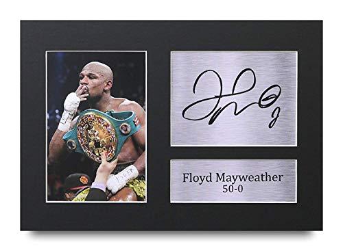 HWC Trading Floyd Mayweather A4 Sin Marco Regalo De Visualización De Fotos De Impresión De Imagen Impresa Autógrafo Firmado por Los Fanáticos del Boxeo