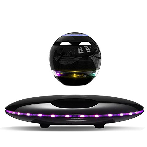 Infinity Orb Magnetic Levitating Speaker Bluetooth 4.0 LED Flash Wireless Floating Speakers with Microphone and Touch Buttons (Black)