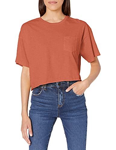 RVCA Women's Cropped Pigment Dye Short Sleeve Shirt, PTC Pocket TEE/Peach, X-Large