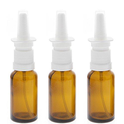 Leere Nasenspray-Flasche mit Fingerzerstäuber Kosmetex Sprühflasche Nasenzerstäuber Braunglas Vaporizer, 20ml, 3× 20 ml