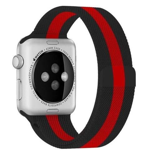 Pulseira Milanese Aço Para Smartwatch 42mm 44mm Preto/Red