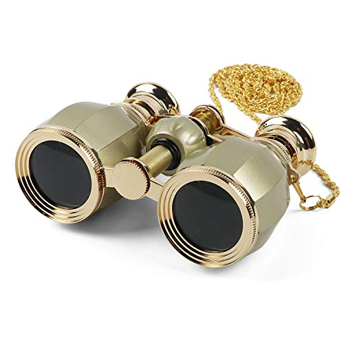Kingscope 4X30 Vintage Opera Glasses Binoculars for Theater Musical Concert (Gold, with Chain)