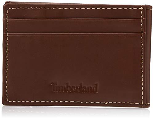 Timberland - Portafoglio da uomo in pelle con fermasoldi sottile minimalista Marrone chiaro Taglia unica