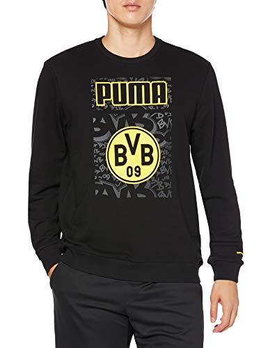 PUMA BVB ftblCore Graphic Crew Sweat, Pullover Uomo, Black-Cyber Yellow, M