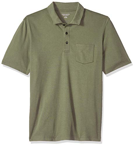 Amazon Essentials Men's Regular-Fit Pocket Jersey Polo, Olive, XX-Large