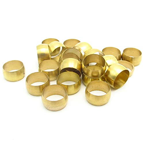 Joywayus 50pcs Brass Compression Fitting Sleeves Ferrule Ring for 4mm Tube