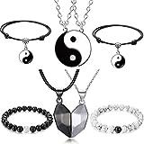 XHBTS 8 piezas a juego Yin Yang Friend Pulseras de pareja con collar, ajustable, resistente al agua, hecho a mano, pulsera de relaciones para amistad, novio o novia