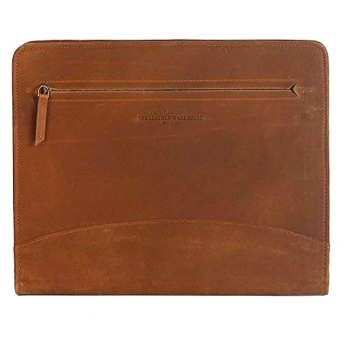 The Leather Warehouse Padfolio Portfolio Professional Document Resume File Organizer Zippered/Planner With Business Credit Cards ,Pen,Ipad/Tablet,Phone Notepad Holder - Brown