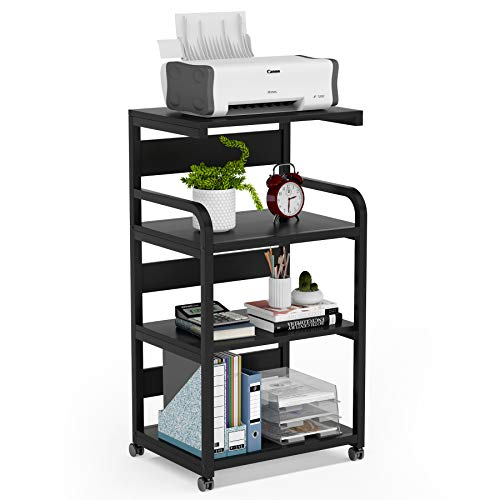Tribesigns 4-Shelf Mobile Printer Stand with Storage Shelves, Large Modern Printer Cart Desk Machine Stand Storage Rack on Wheels for Home Office(Black)