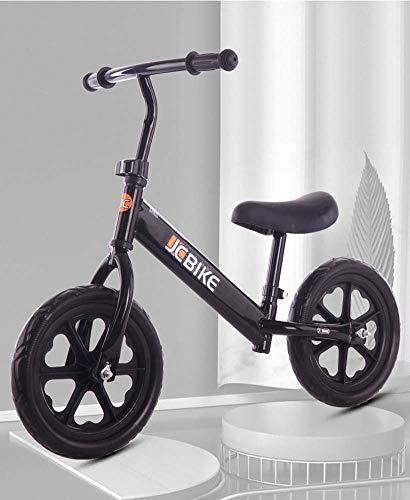 Bicicleta de equilibrio de 12 pulgadas para niños de 2 a 6 años de edad, bicicleta de equilibrio ligera, manillar y asiento de altura ajustable, marco de acero al carbono, A