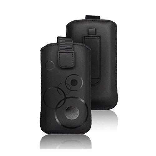 tag-24 Schutzhülle Slider Deko Etui Handytasche Cover passend für Hisense HS-U800 Farbe schwarz