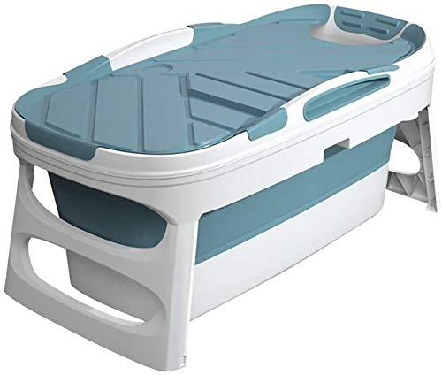 Baño plegable portátil, piscina para niños adultos, aumento del cubo de baño de plástico libre,Blue