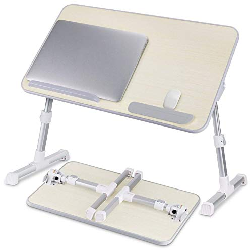 Adjustable Laptop Bed Table Foldable On The Lap Laptops Tray Support Portable Standing Desk Breakfast Table Notebook Stand Reading Holder PC Riser For Sofa, Bed, Terrace, Balcony, Garden,Grey-XL