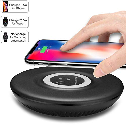 Bysionics Wireless Charger,2 in1 5000mAh Portable Power Bank and Wireless Charging Station Compatible with iWatch Series 4/3/2/1,Compatible with iPhone 8/X,Samsung S10 All Qi Phones (Black)