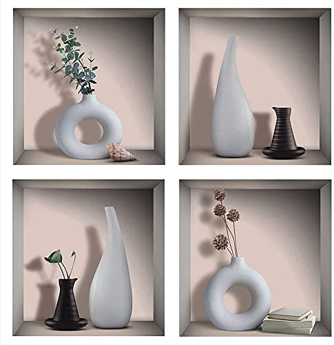 4 Pcs Stickers Muraux 3D Vase,Autocollant Muraux Vases pour Décoration Murale de Salon,Autocollant Mural Feuille Verte,Murales de 3D Vases de Salon,DIY Amovibles Vase Vinyle Autocollant ,30×30CM