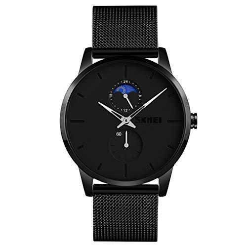 SKMEI - Reloj de pulsera para hombre, ultrafino, resistente al agua, reloj analógico de cuarzo con banda de acero inoxidable, Casual, Negro, 1.65*1.57*0.47 inch