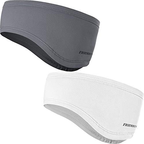 The Friendly Swede Stirnband 2-er Set - Kopfband, Headband für optimalen Ohrenschutz beim Jogging, Laufen, Wandern, Fahrrad- und Motorrad Fahren - Stirnbänder für Damen und Herren (Weiss + Grau)