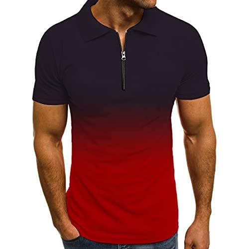 T-Shirt Hombre Estilo Hip Hop Gradiente Transpirable Cuello Kent Hombres Shirt Ocio Verano Slim Fit Cremallera...
