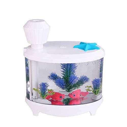 DIAOD Creative Fish Tank Humidifier Household Mini USB Air Humidifier Beautiful Night Light 460ML Aroma Oil Diffuser (Color : A)