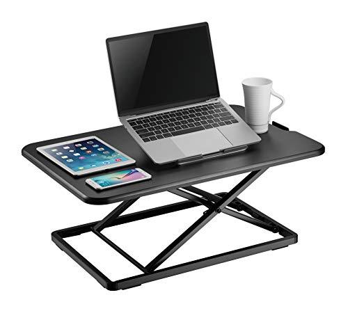 VonHaus Sit Stand Desk - Black Screen Monitor Riser Workstation - Home Office Standing Desk Converter