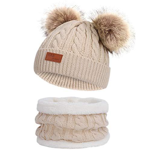 JFAN Sombrero de Invierno Bufanda para Niños Gorro de Punto para Bebés y Niños Pequeños Gorro de Invierno con Color Puro Sombrero de Doble Pompón para Niñas y Niños