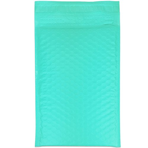 """Beauticom TEAL (50 Pieces) #000, 4""""x8"""" Self-Seal Poly Bubble Mailer Envelopes Eco Friendly Lightweight Made In The USA Photo #2"""