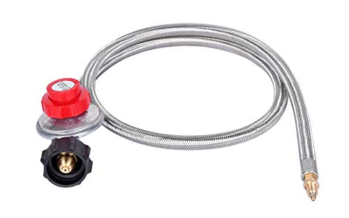 GasSaf 4FT 0-10PSI Adjustable High Pressure Propane Regulator Grill Connector with Hose for Tabletop Grill,Fire Pit Table, Turkey Fryer,Fish Fryer and More