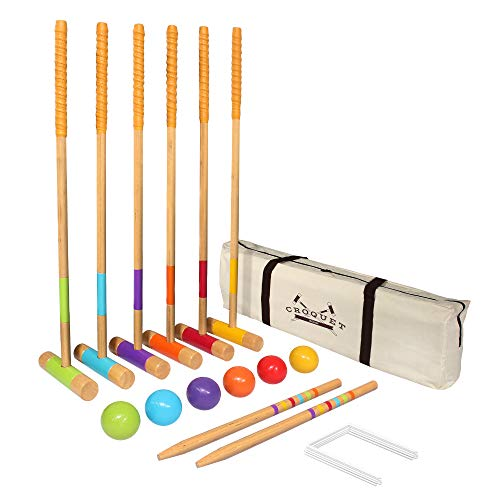 GoSports Six Player Croquet Set for Adults & Kids - Modern Wood Design with Deluxe (35') and Standard (28') Options