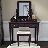 Amolife Vanity Set with Mirror/Dressing Table with Cushioned Stool/Vanity Makeup Table 5 Drawers/Dividers Movable Organizers,Gifts for Mom,Wife,Girls,Friends,Espresso